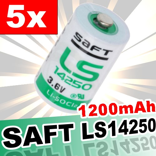 5x saft lithium 3 6v batterie ls 14250 1 2 aa ls14250 li socl2 batterien ebay. Black Bedroom Furniture Sets. Home Design Ideas